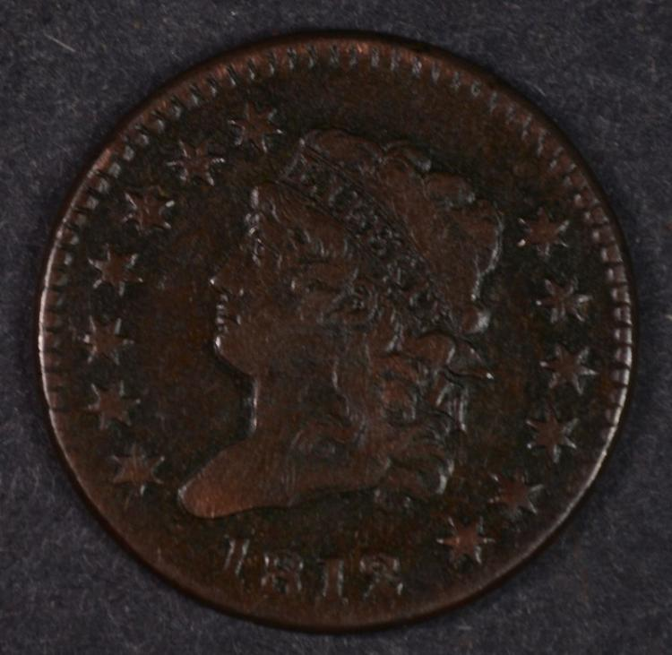 1812 CLASSIC HEAD LARGE CENT XF-AU SUPER GLOSSY COIN, GREAT DETAIL & SURFACES