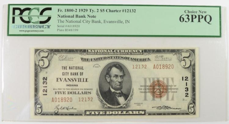 1929 $5 TYPE 2 NATIONAL CURRENCY NAT'L CITY BANK OF EVANSVILLE IN PCGS 63PPQ
