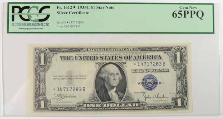 1935C $1 SILVER CERTIFICATE PCGS 65PPQ