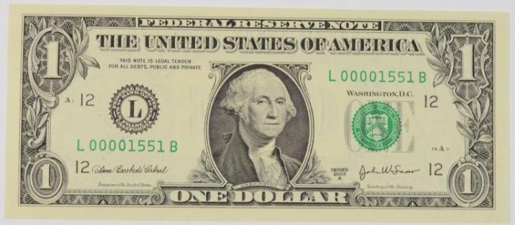 2003A $1 FEDERAL RESERVE NOTE BINARY LOW SERIAL # GEM CU