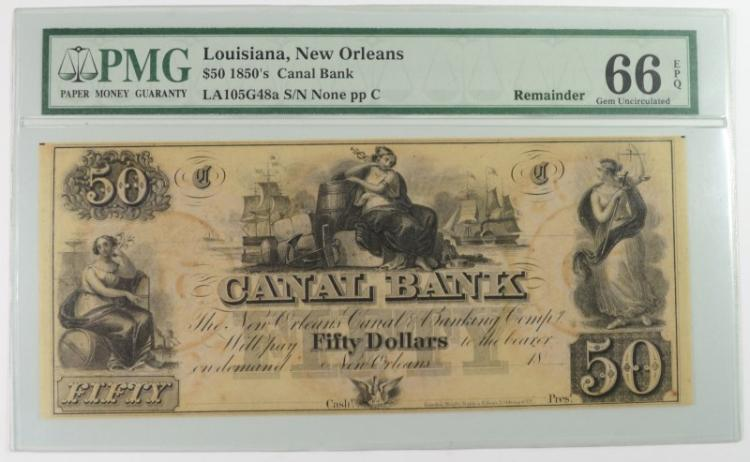 1850's $50 CANAL BANK PMG 66EPQ