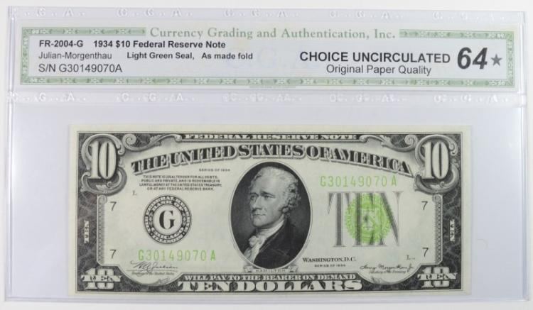 1934 $10 FEDERAL RESERVE NOTE CGA 64* - OPQ As Made Fold Error