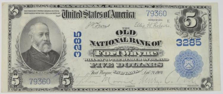 1902 $5 PB NATIONAL CURRENCY OLD NAT'L BANK OF FT WAYNE CH.XF
