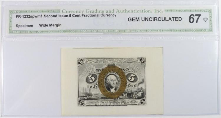 1863 5 CENTS 2ND ISSUE FRACTIONAL CURRENCY WIDE MARGIN SPECIMEN FRONT CGA 67