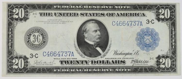 1914 $20 FEDERAL RESERVE NOTE (FR 972) PHILADELPHIA CH.XF/AU