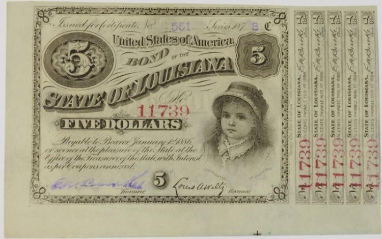 1873 $5 UNITED STATES LOUISIANA BABY BOND #11739 CH.CU
