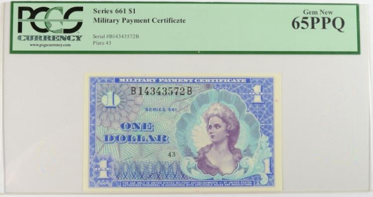 SERIES 661 $1 MILITARY PAYMENT CERTIFICATE #B14343572B PCGS 65PPQ