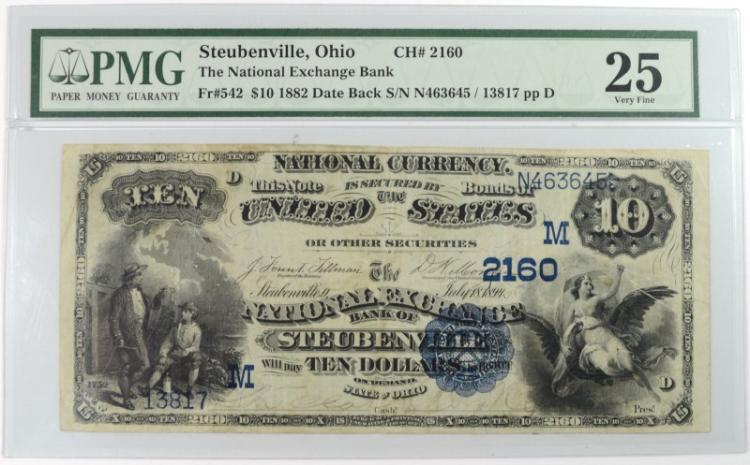 1882 DATE BACK $10 NATIONAL CURRENCY NATIONAL EXCHANGE BANK OF STEUBENVILLE