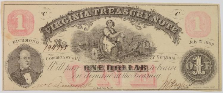 1862 $1 VIRGINIA TREASURY NOTE #194755 FULLY ISSUED CIVIL WAR NOTE CU