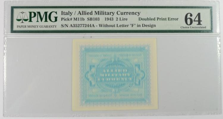 1943 2 LIRE ITALY / ALLIED MILITARY CURRENCY #A35277244A PMG 64