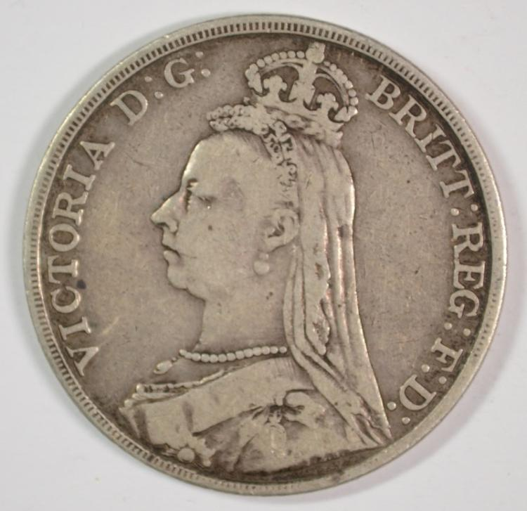 1891 Great Britain Crown, 92.5% silver .8409 ozt KM#783