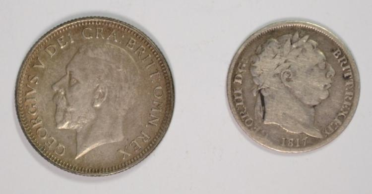Two Coins - 1817 Great Britain Six Pence, Fine, 92.5% Silver. 0841 ozt, KM#665