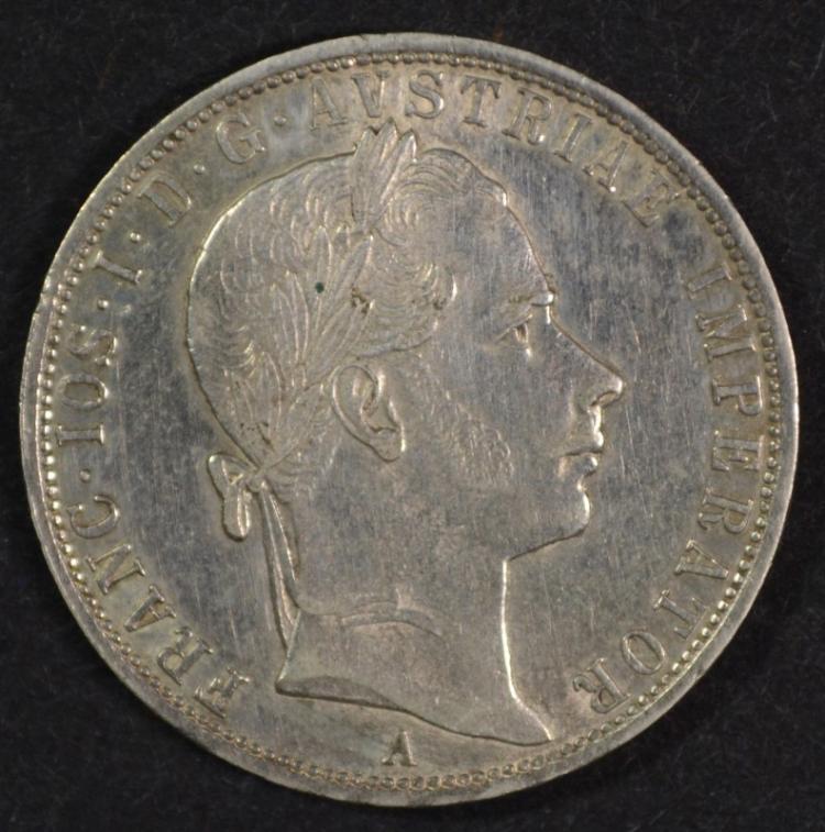 1858 A Austria Thaler, XF, 90% Silver, .5359 ozt KM#2244