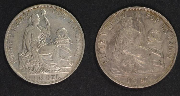 Two Coins - 1867 Peru SOL, Santiago Issue, 90% Silver, .7234 ozt