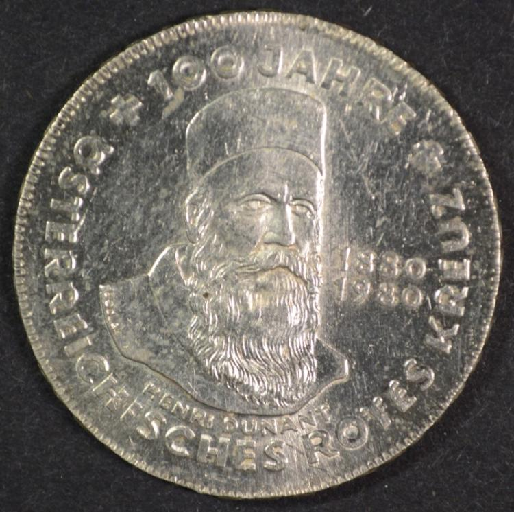 1980 Austria 500 Schilling, 64% Silver, .4938 ozt, KM#2950