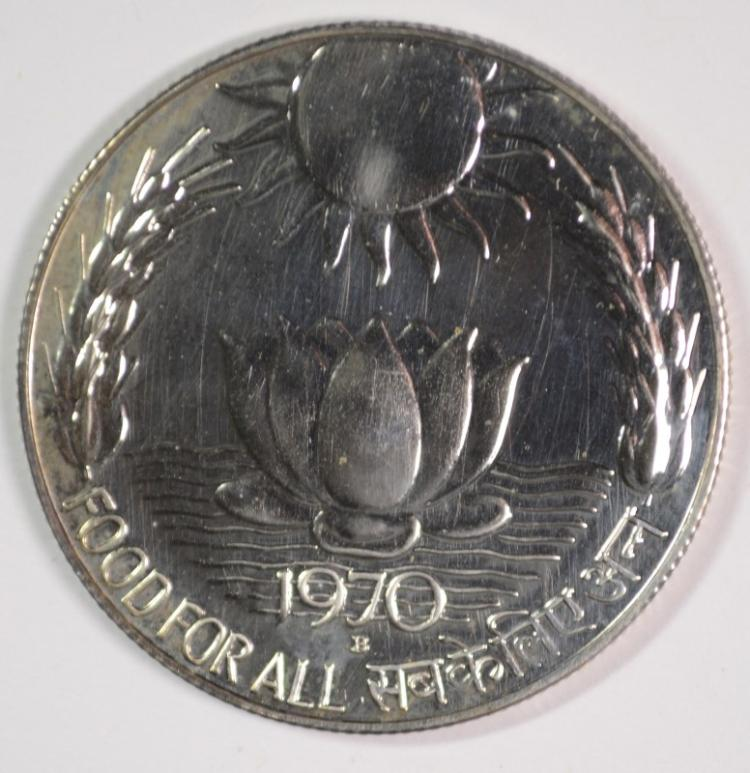 1970 India 10 Ruprees, 80% Silver, .3858 ozt, KM#186