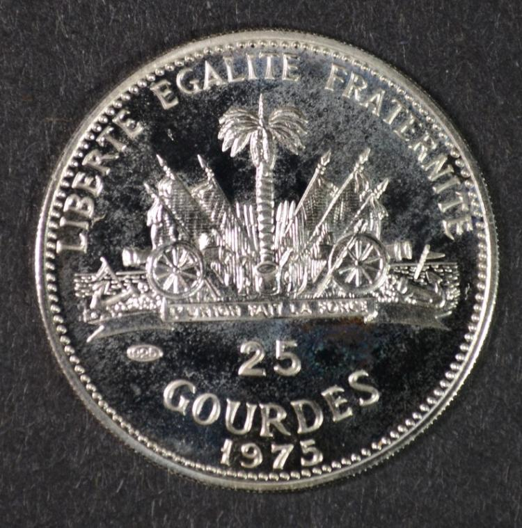 1975 Haiti 25 Gourdes, RARE PROOF, 1440 Mintage, 92.5% Silver, .249 ozt KM#121