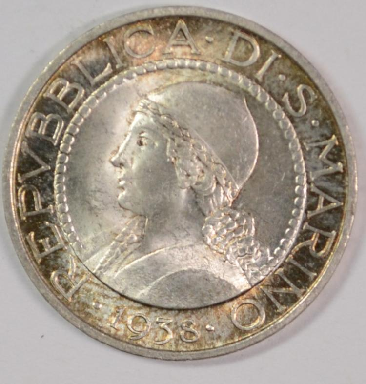 1938 San Marino, 5 Lire, CH BU, 835% Silver, .1342 ozt, KM#9