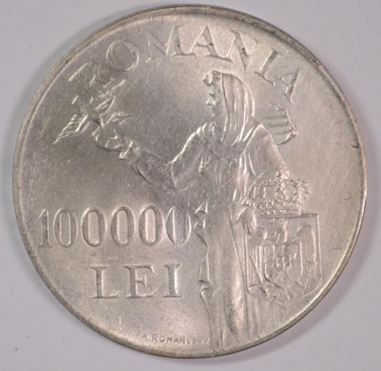 1946 Romania 100000 LEI , BU, 70% Silver, .56226 ozt KM#71