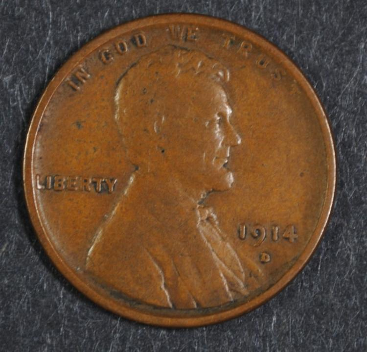 1914-D LINCOLN WHEAT CENT VF  KEY COIN