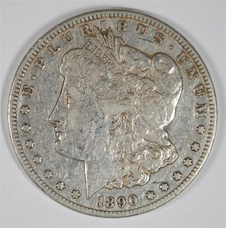 1890-CC MORGAN SILVER DOLLAR XF/AU TAILBAR RARE KEY!
