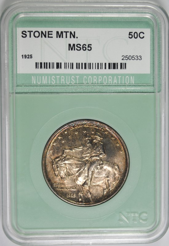 1925 STONE MOUNTAIN HALF DOLLAR NTC GRADED GEM BU+