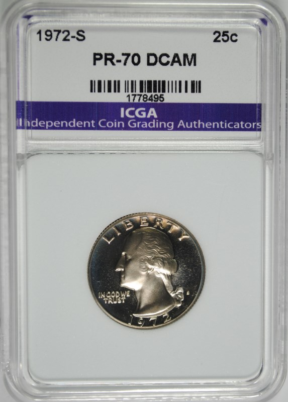 1972-S WASHINGTON QUARTER ICGA PERFECT GEM PROOF DEEP CAMEO