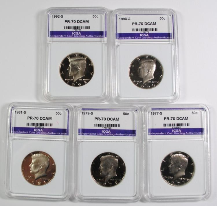 5 PERFECT GEM PROOF DEEP CAMEO ICGA KENNEDY HALF DOLLARS: 1990-S, 1992-S,