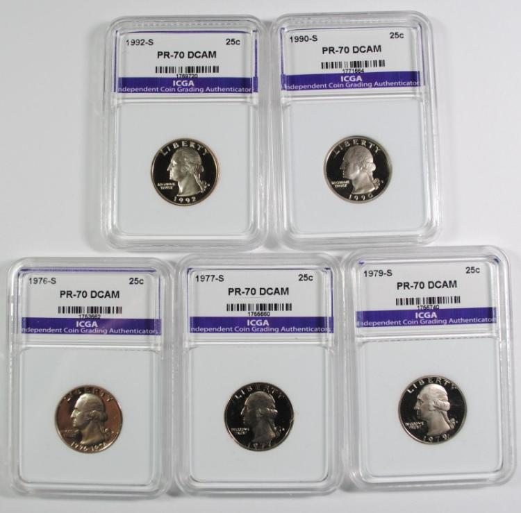 5 PERFECT GEM PROOF DEEP CAMEO ICGA WASHINGTON QUARTERS: 1990-S, 1992-S, 1976-S,