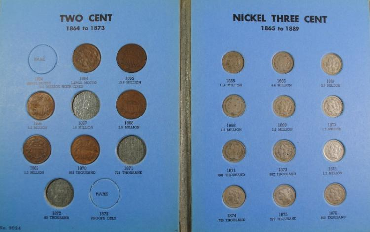 PARTIAL SET: 6-DIFFERENT 2-CENT & 13-DIFFERENT 3-CENT NICE CIRCS IN ALBUM
