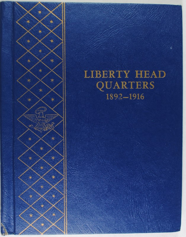 ( 62 ) DIFF. BARBER QUARTERS IN ALBUM, AVE CIRC COINS RETAIL BOOK VALUE $875+