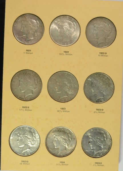 COMPLETE PEACE SILVER DOLLAR SET: 1921 THRU 1935 ( 24 ) COINS
