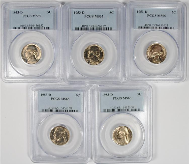 ( 5 ) 1953-D JEFFERSON NICKELS, PCGS  MS-65 GEMS
