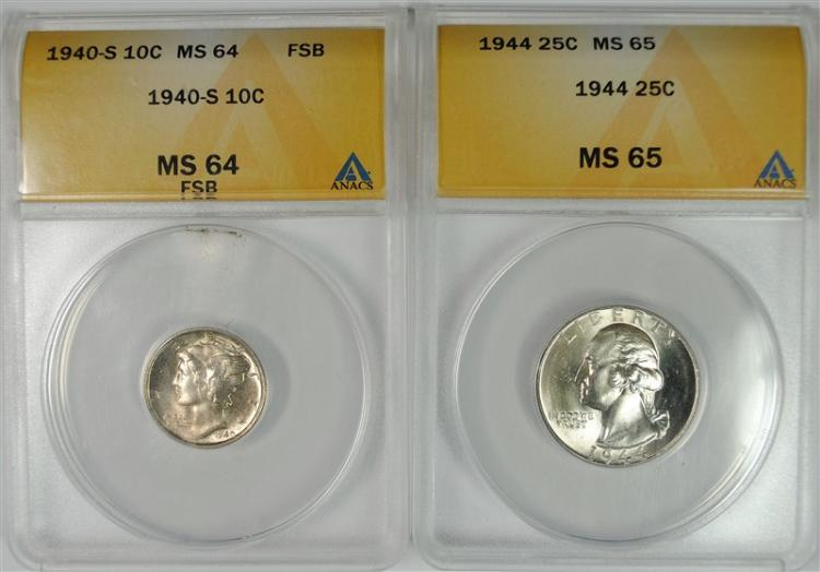 1944 WASHINGTON QUARTER ANACS MS-65 & 1940-S MERCURY DIME ANACS MS-64 FSB