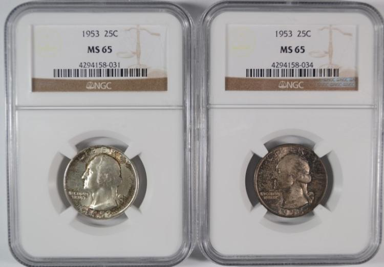 ( 2 ) 1953 WASHINGTON QUARTERS, NGC MS-65