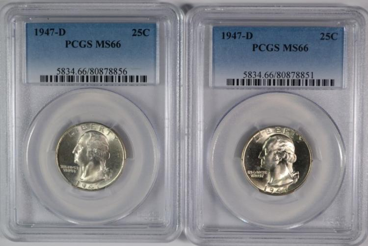 2 - 1947-D WASHINGTON QUARTERS PCGS MS66