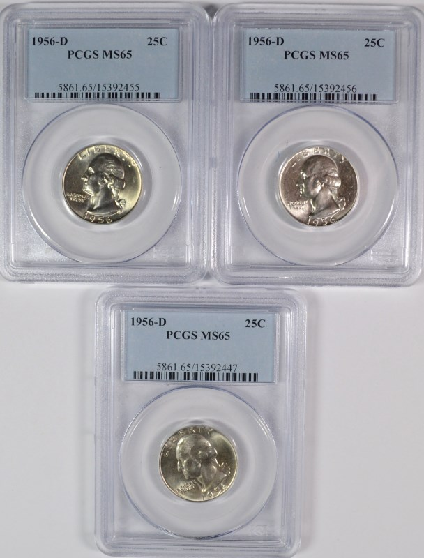 ( 3 ) 1956-D WASHINGTON QUARTERS, PCGS  MS-65