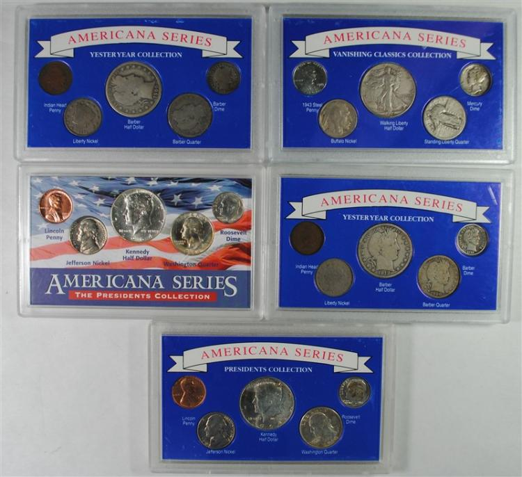 5 - UNITED STATES 5pc SETS with SILVER 50c, 25c, 10c and MORE -