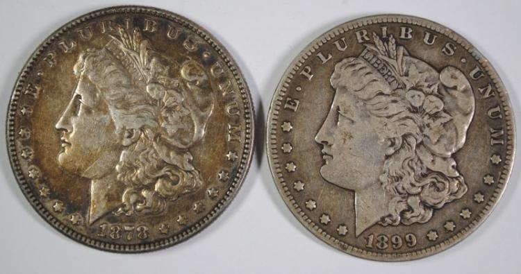 1878 7F MORGAN SILVER DOLLAR, XF+ & 1899-S VF MORGAN SILVER DOLLAR