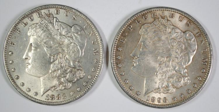 1883-O & 1896 BU MORGAN SILVER DOLLARS
