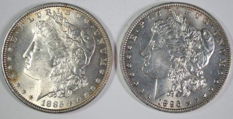 1885 CHOICE BU+ & 1896 CHOICE BU MORGAN SILVER DOLLARS