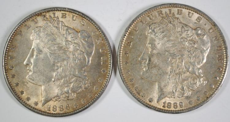 1886 & 1889 BU MORGAN SILVER DOLLARS