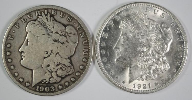 1903-S VG & 1921 CHOICE BU MORGAN SILVER DOLLARS