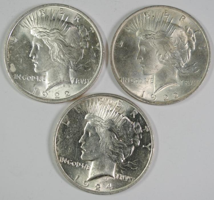 ( 2 ) 1922 & ( 1 ) 1924 CHOICE BU PEACE SILVER DOLLARS