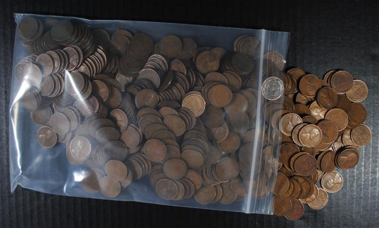 500 MIXED DATE LINCOLN CENTS FROM THE 1920'S