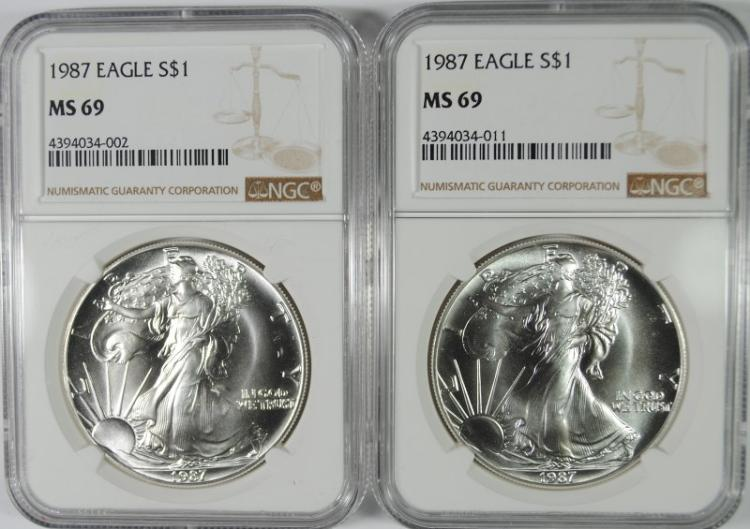 ( 2 ) 1987 AMERICAN SILVER EAGLES, NGC MS-69