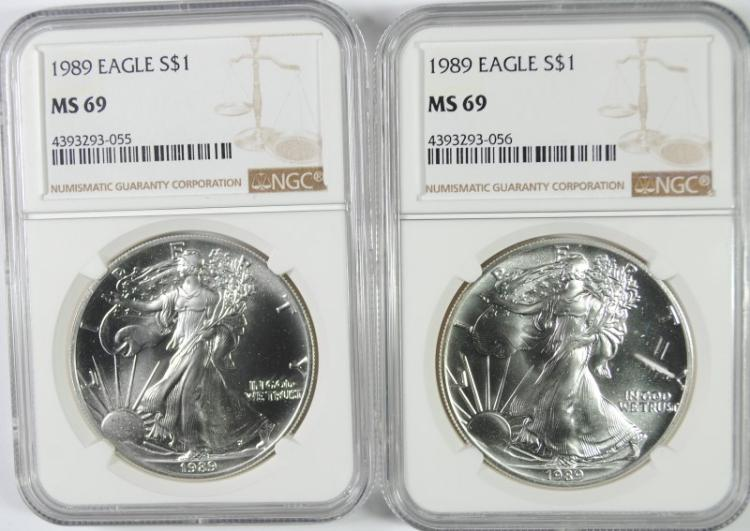 ( 2 ) 1989 AMERICAN SILVER EAGLES, NGC MS-69