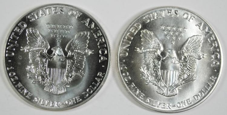 ( 2 ) 1987 BU AMERICAN SILVER EAGLE ONE OUNCE .999 SILVER COINS