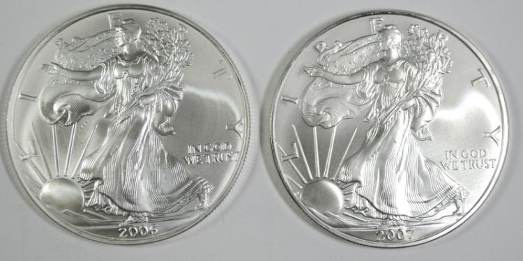 2006 & 2007 BU AMERICAN SILVER EAGLE ONE OUNCE .999 SILVER COINS