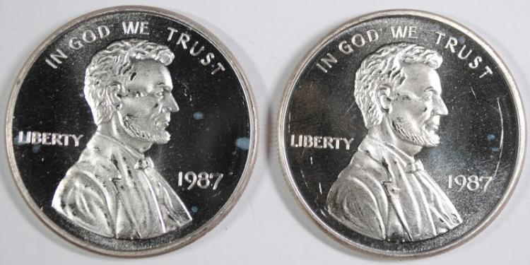 ( 2 ) ONE OUNCE .999 SILVER REPLICA LINCOLN CENTS
